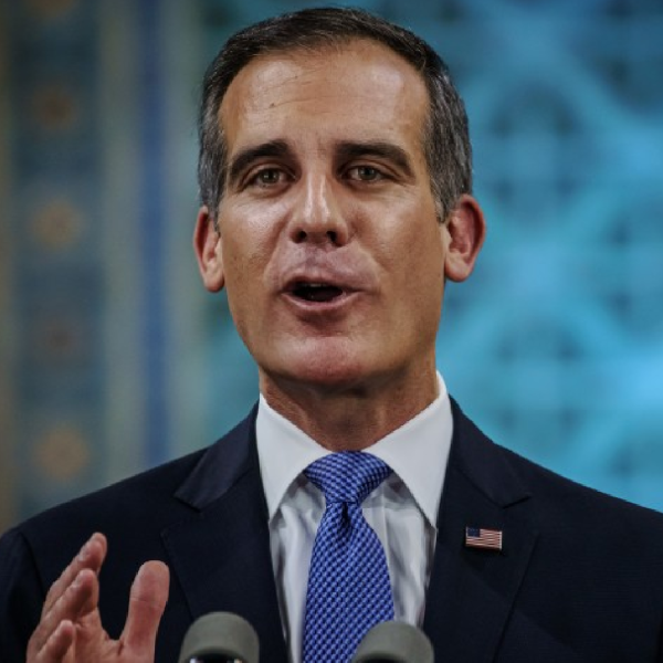 Mayor Eric Garcetti makes his annual State of the City address at L.A. City Hall on April 19.(Marcus Yam / Los Angeles Times)
