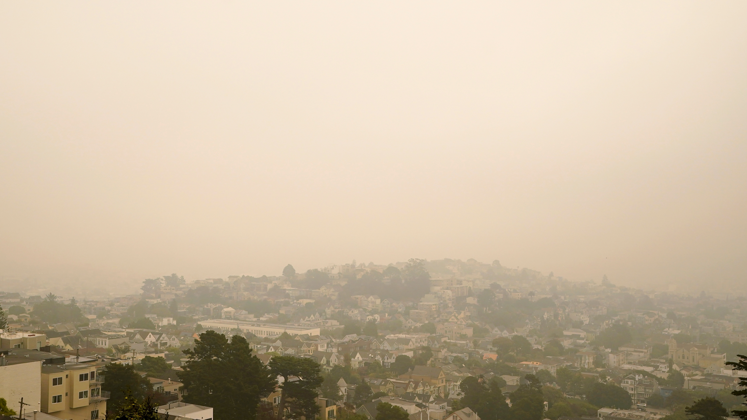 Smoke and haze from wildfires hovers over San Francisco, Thursday morning, Sept. 10, 2020. (AP Photo/Jeff Chiu)