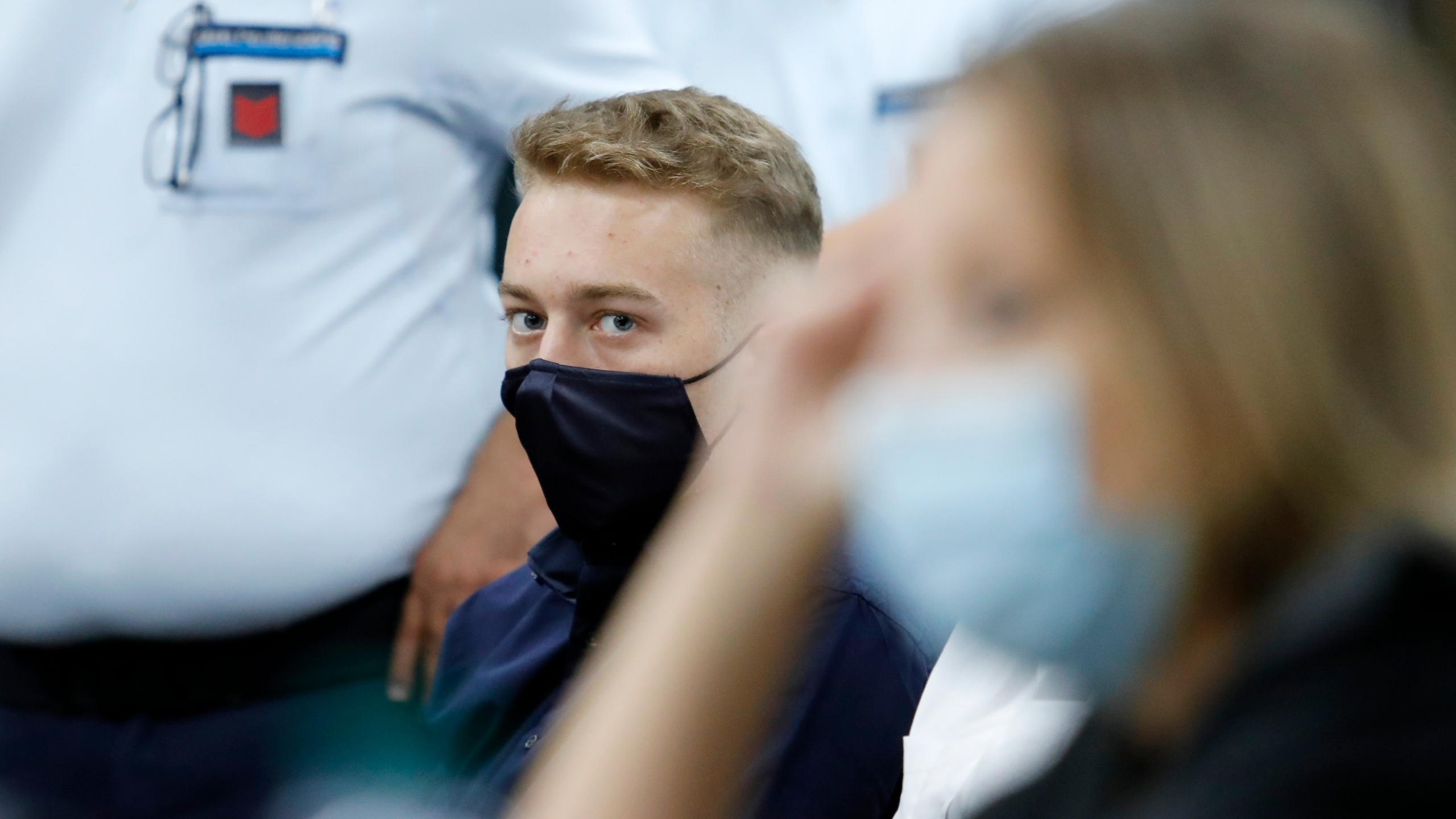 Finnegan Lee Elder, from San Francisco, looks on during a break in his trial where he and his friend Gabriel Natale-Hjorth are accused of slaying a plainclothes Carabinieri officer while on vacation in Italy last summer, in Rome, Wednesday, Sept. 16, 2020. (Remo Casilli/Pool Photo via AP)