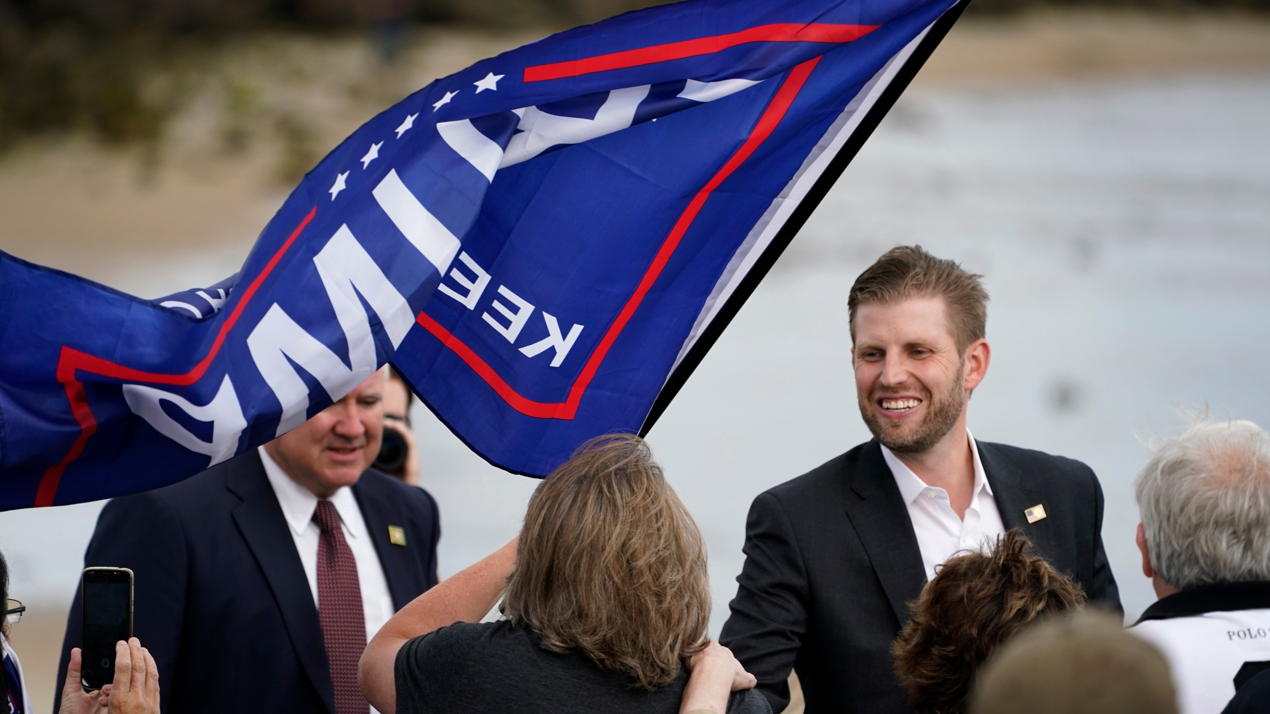 Eric Trump, the son of President Donald Trump, greets supporters at a campaign rally, Tuesday, Sept. 17, 2020, in Saco, Maine. (AP Photo/Robert F. Bukaty)