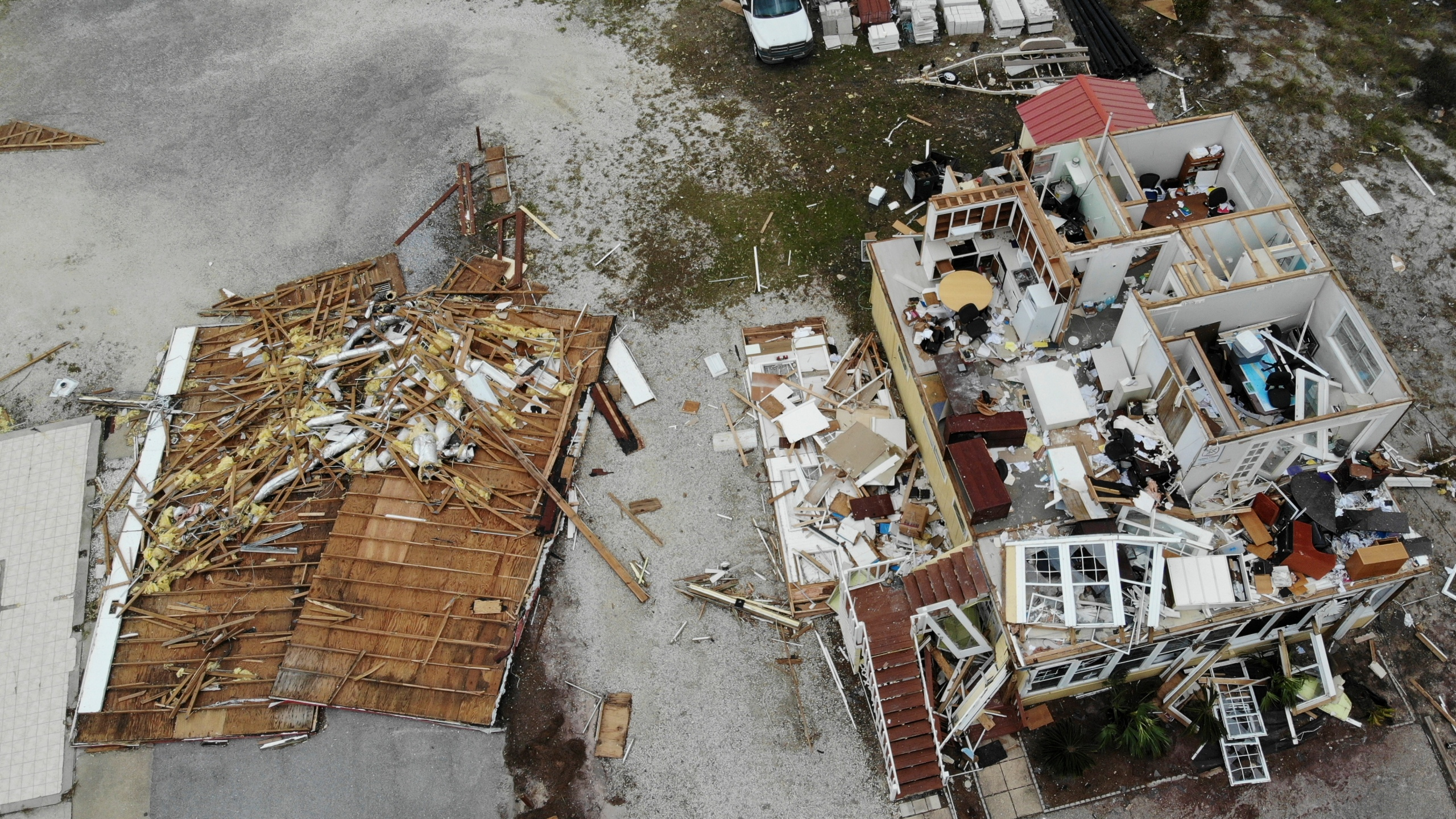 A damaged business is seen in the aftermath of Hurricane Sally on Sept. 17, 2020, in Perdido Key, Florida. (Angie Wang / Associated Press)