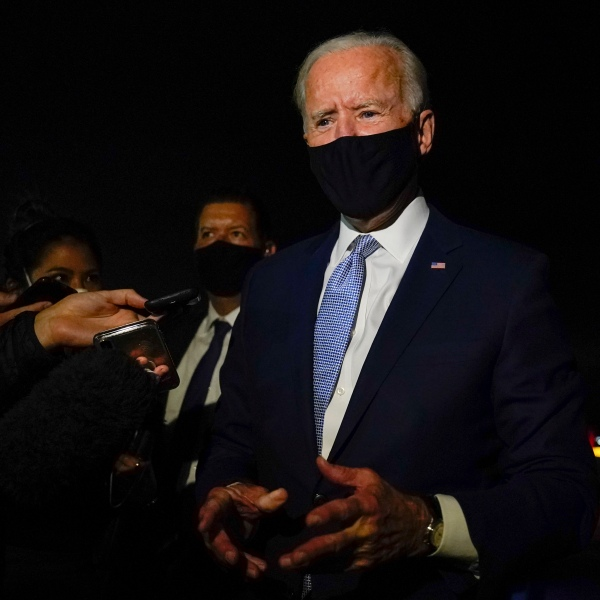 Democratic presidential candidate former Vice President Joe Biden talks with reporters at Wilkes-Barre Scranton International Airport, in Avoca, Pa., after a CNN town hall on Sept. 17, 2020.(Carolyn Kaster/Associated Press)