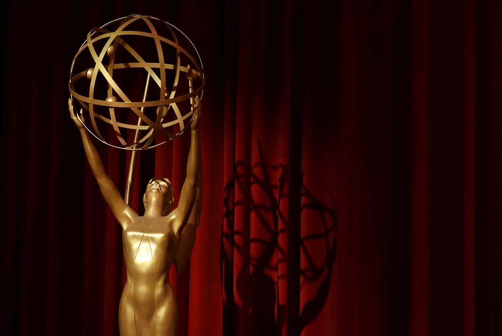 In this July 12, 2018, file photo, an Emmy statue is displayed onstage at the 70th Primetime Emmy Nominations Announcements at the Television Academy's Saban Media Center, in Los Angeles. The Emmy Awards being held on Sunday, Sept. 20, 2020, will include a $2.8 million donation to No Kid Hungry to support the group's efforts to feed children affected by the coronavirus pandemic. The Television Academy announced the donation Friday, Sept. 18. (Photo by Chris Pizzello/Invision/AP, File)