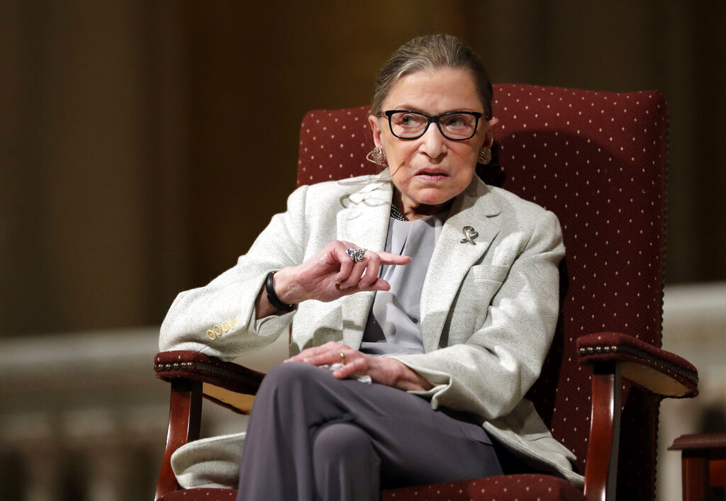 Supreme Court Justice Ruth Bader Ginsburg speaks at Stanford University in California on Feb. 6, 2017. (Marcio Jose Sanchez / Associated Press)