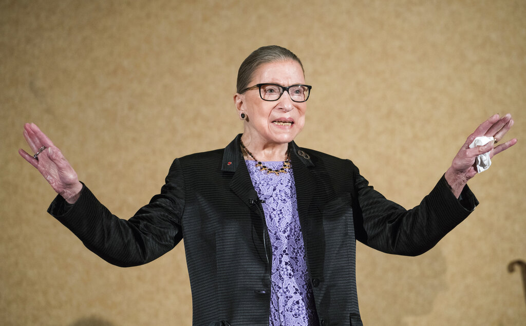 In this Aug. 19, 2016, file photo, Supreme Court Justice Ruth Bader Ginsburg is introduced during the keynote address for the State Bar of New Mexico's annual meeting in Pojoaque, N.M. (AP Photo/Craig Fritz, File)