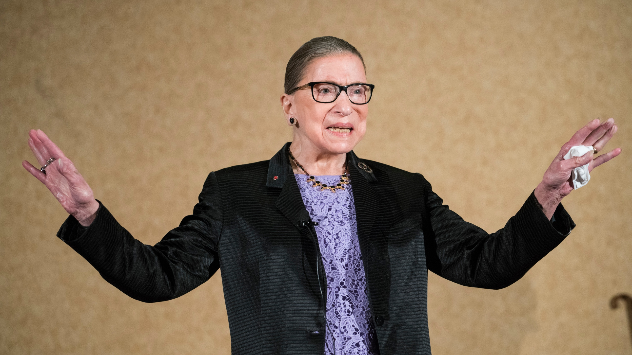 Supreme Court Justice Ruth Bader Ginsburg is introduced during the keynote address for the State Bar of New Mexico's annual meeting in Pojoaque, New Mexico, on Aug. 19, 2016. (Craig Fritz / Associated Press)
