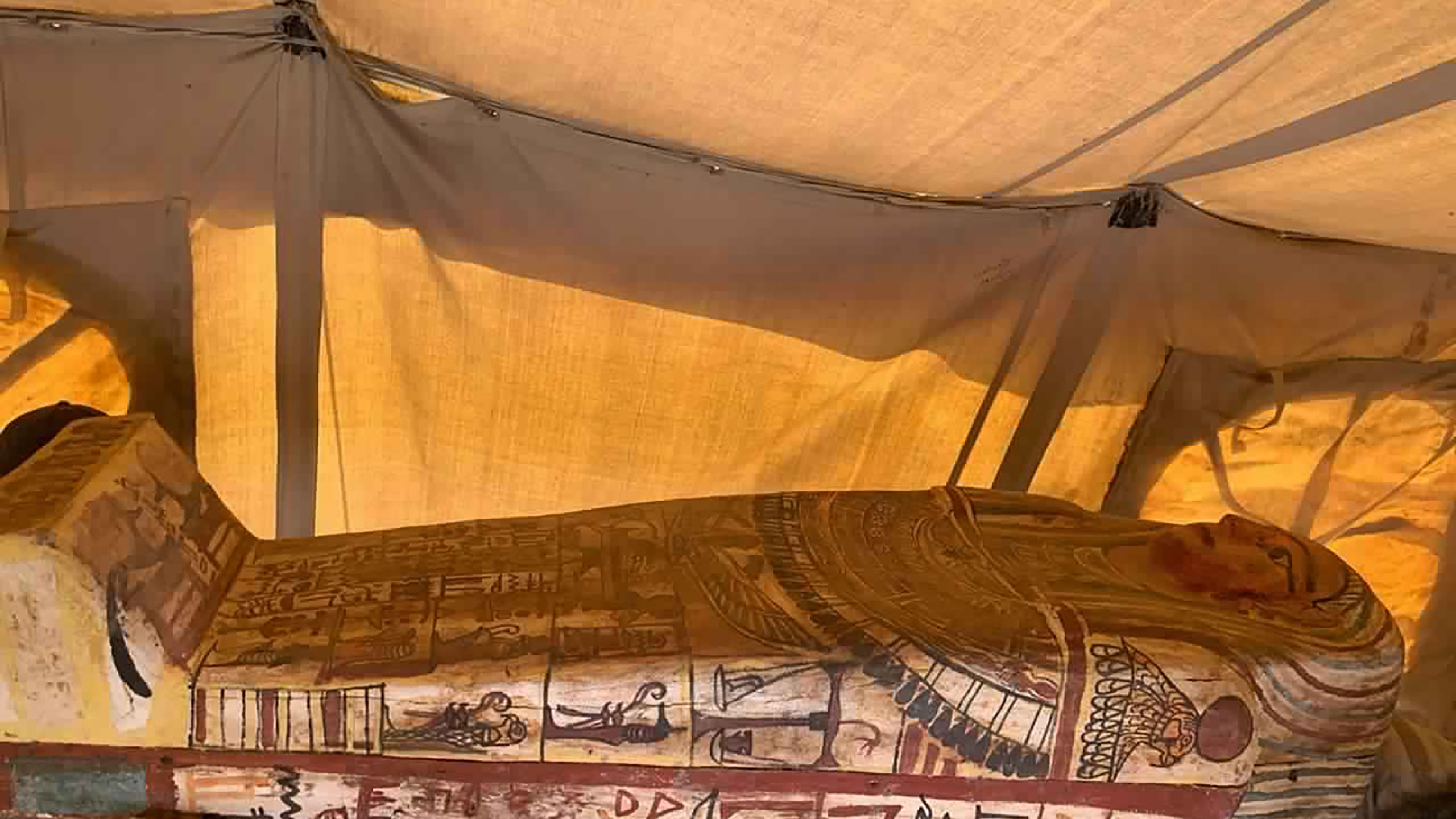 This September 2020 photo provided by the Ministry of Tourism and Antiquities shows one of more than two dozen ancient coffins unearthed near the famed Step Pyramid of Djoser in Saqqara, south of Cairo, Egypt. (Ministry of Tourism and Antiquities via AP)