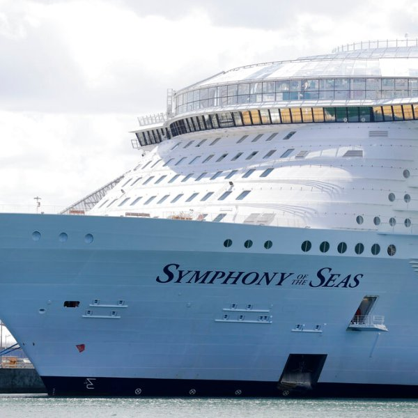 The Symphony of the Seas cruise ship is shown docked at PortMiami, in a Wednesday, May 20, 2020, file photo, in Miami. (AP Photo/Wilfredo Lee, File)