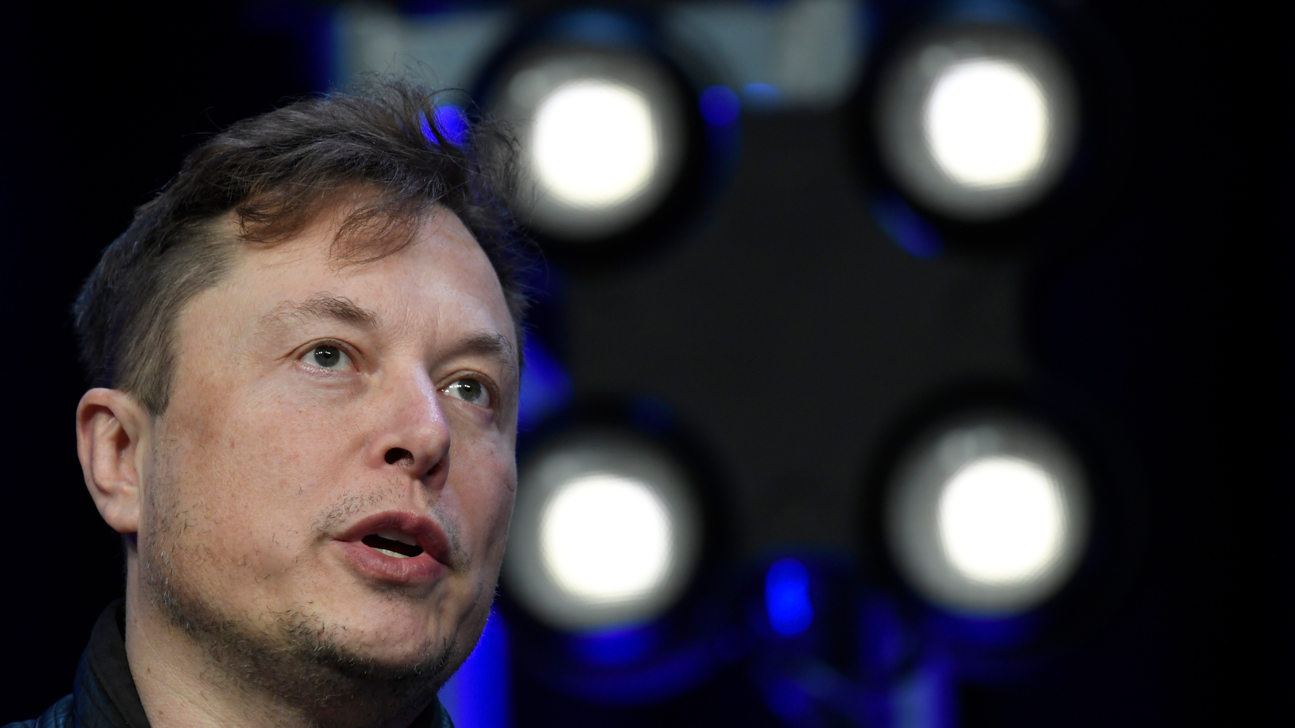 Tesla and SpaceX CEO Elon Musk speaks at the SATELLITE Conference and Exhibition in Washington on March 9, 2020. (Susan Walsh / Associated Press)