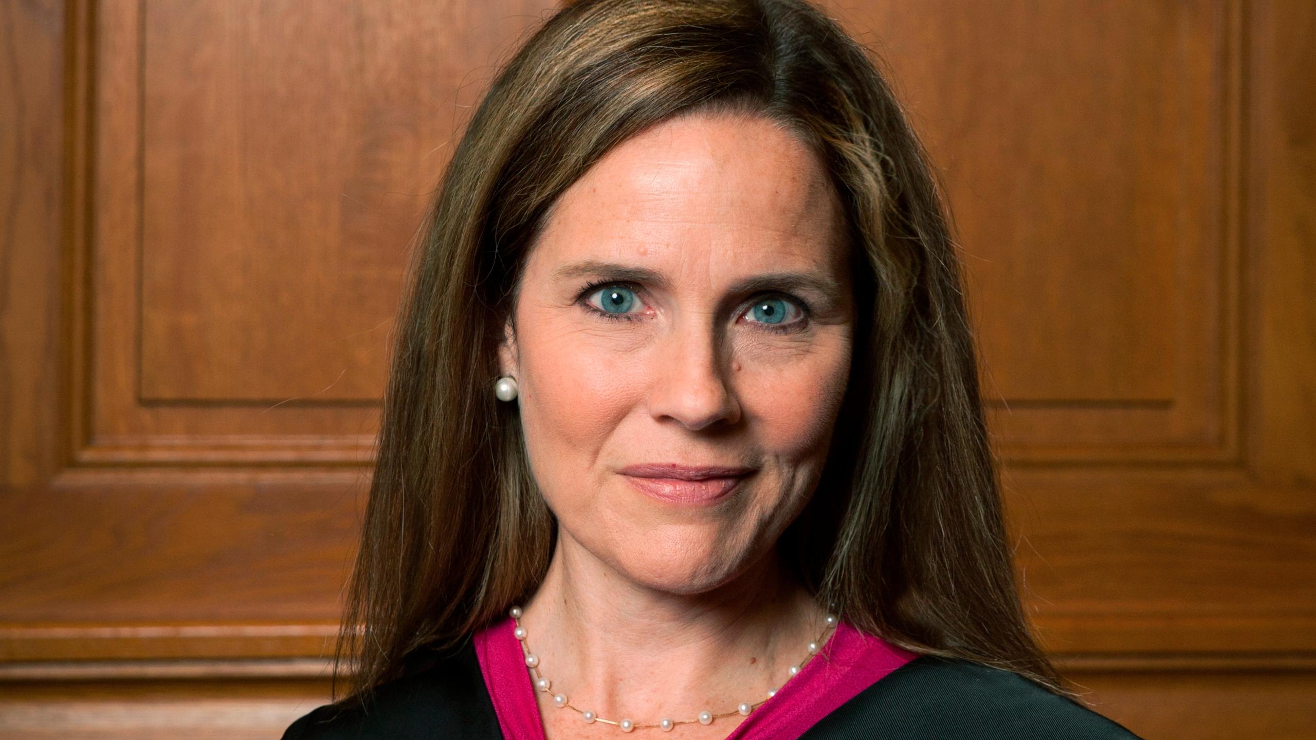 This image provided by Rachel Malehorn shows Judge Amy Coney Barrett in Milwaukee, on Aug. 24, 2018. (Rachel Malehorn, via Associated Press)