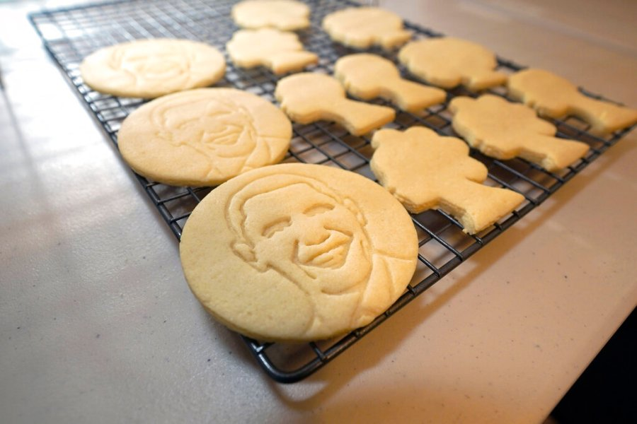 Sugar cookies with the likeness of President Obama are displayed as part of Julie Muller's cookie decorating kits which she sell on Etsy, on Sept. 22, 2020, in Houston. (AP Photo/David J. Phillip)