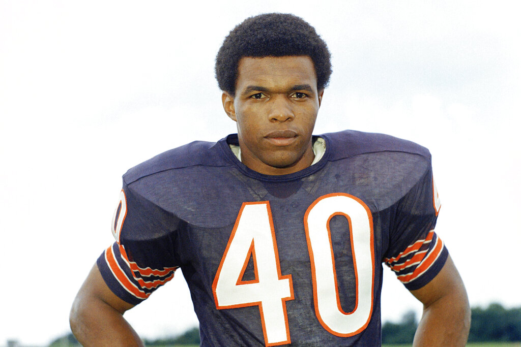 A 1970 file photo shows Chicago Bears football player Gale Sayers. (AP Photo/FIle)