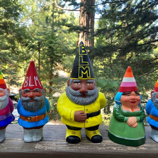 This Sept. 21, 2020, photo provided by Ashleigh Boutelle in Twin Peaks, California, shows Black Lives Matter gnomes and gay pride gnomes he painted and is selling online. Amid all the Black Lives Matter themed T-shirts, face masks and signs appearing in recent months, some unconventional merchandise has been popping up on online crafts marketplace Etsy. (Ashleigh Boutelle via AP)