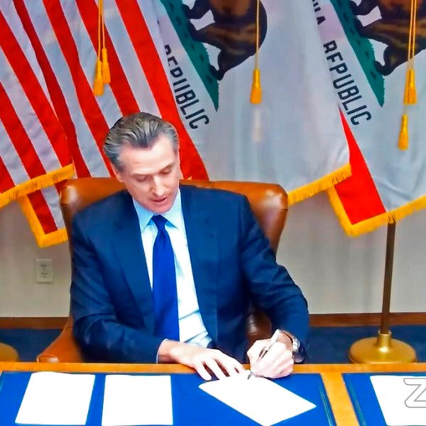 """In this image taken during a video broadcast via Zoom, California Gov. Gavin Newsom signs a law on Sept. 25, 2020, in Sacramento that for the first time defines """"medical necessity,"""" a move aimed at requiring private health insurance plans to pay for more mental health and drug addiction treatments. (Zoom via AP)"""