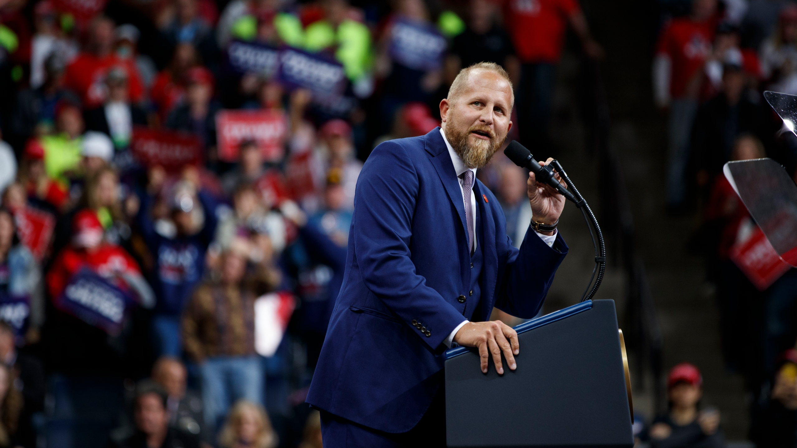 In this Oct. 10, 2019, file photo, Brad Parscale, then-campaign manager for President Donald Trump, speaks during a campaign rally at the Target Center in Minneapolis. Parscale was hospitalized Sunday, Sept. 27, 2020, after he threatened to harm himself, according to Florida police and campaign officials. (AP Photo/Evan Vucci, File)