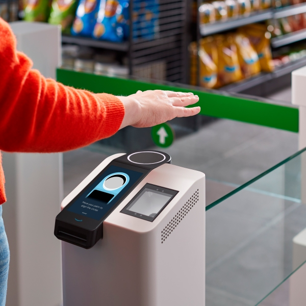 This undated photo provided by Amazon shows the Amazon One device at an Amazon Go store in Seattle. (Amazon via AP)