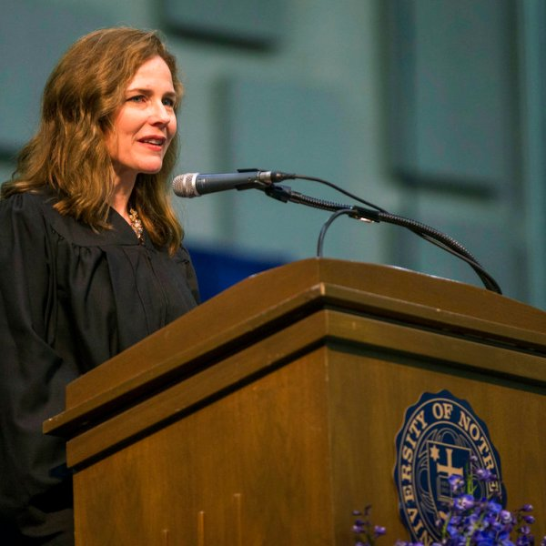Amy Coney Barrett speaks during the University of Notre Dame's Law School commencement ceremony in 2018. (Robert Franklin /South Bend Tribune via AP, File)