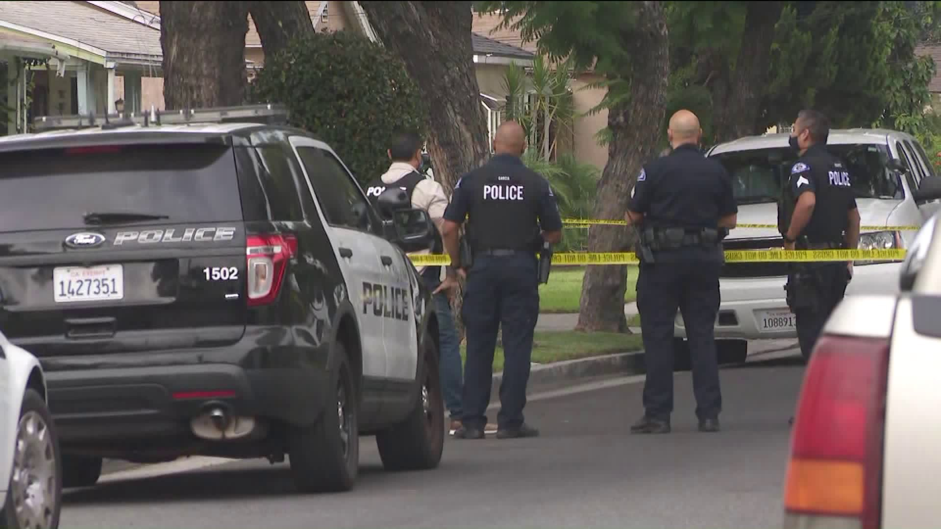 An investigation was underway in a Bell after a woman was fatally shot in Bell on Sept. 1, 2020. (KTLA)