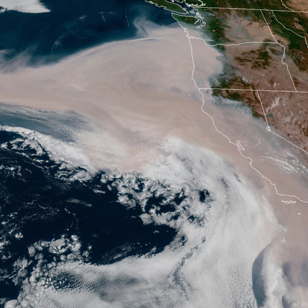 Satellite imagery shows smoke swirling over the Pacific Ocean from wildfires burning in California, Oregon and Washington on Sept. 10, 2020. (GOES-17/NOAA)