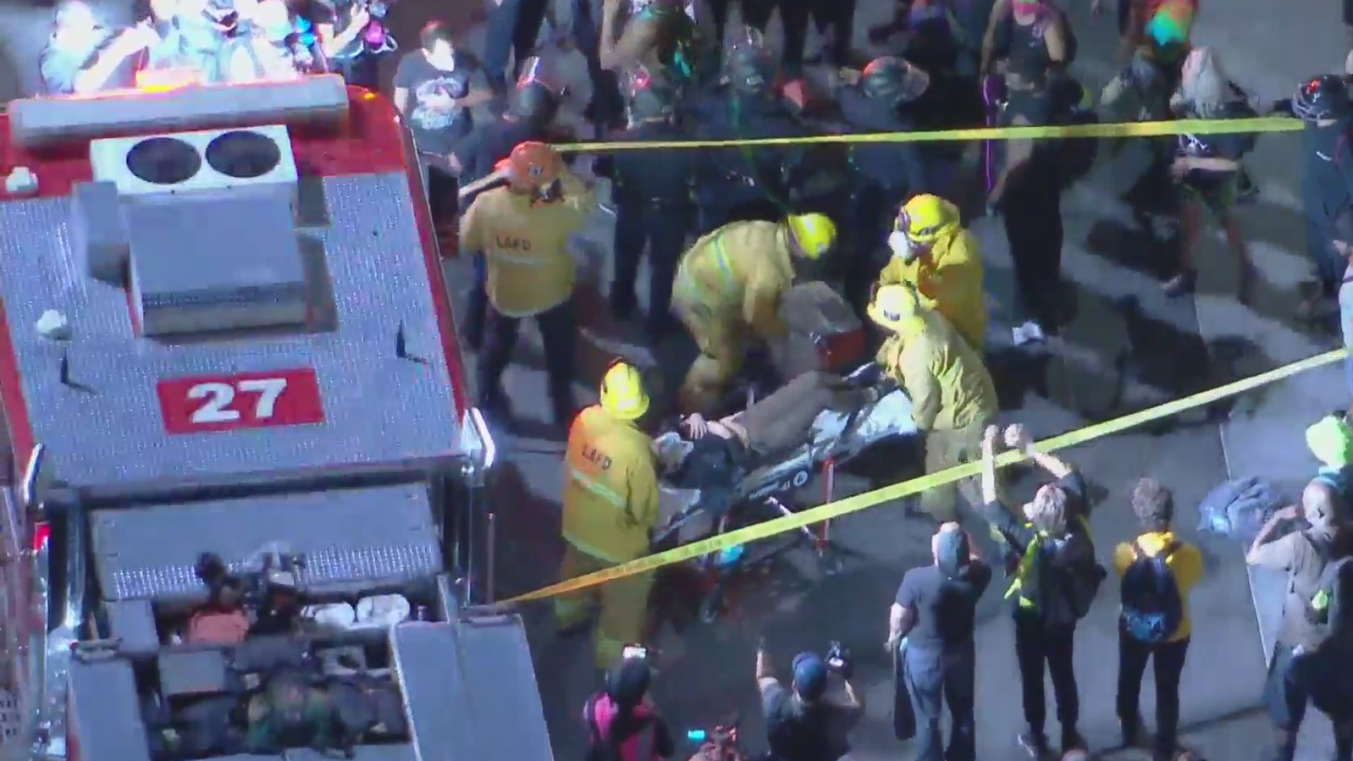 At least one person was injured after a truck plowed through a crowd of demonstrators in Hollywood, protesting the killing of Breonna Taylor on Sept. 24, 2020. (KTLA)