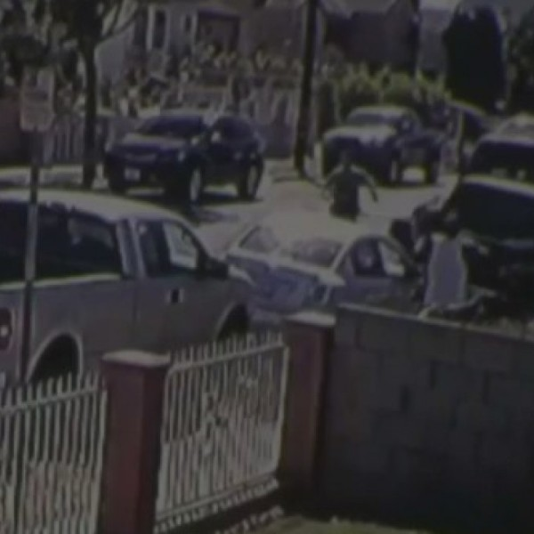 The confrontation with deputies that led up to Dijon Kizzee's fatal shooting is seen in a still from footage released Sept. 17, 2020, by the Los Angeles County Sheriff's Department.