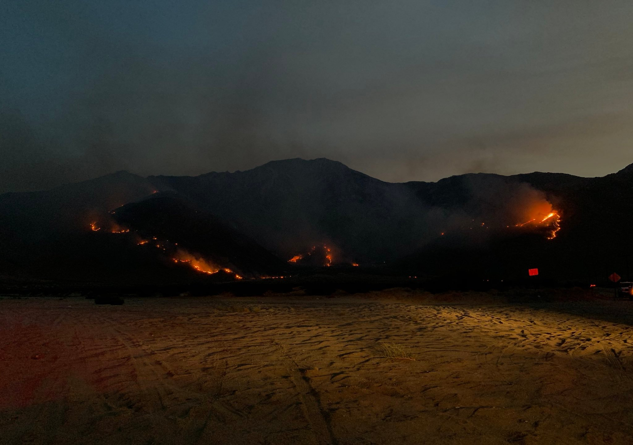 The Snow Fire burns west of Palm Springs on Sept. 17, 2020, in a photo provided by the Riverside County Fire Department.