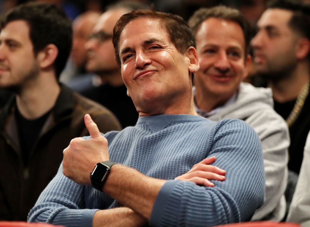 Dallas Mavericks Mark Cuban smiles during the game between the New York Knicks and the Dallas Mavericks at Madison Square Garden on January 30, 2019 in New York City. (Elsa/Getty Images)
