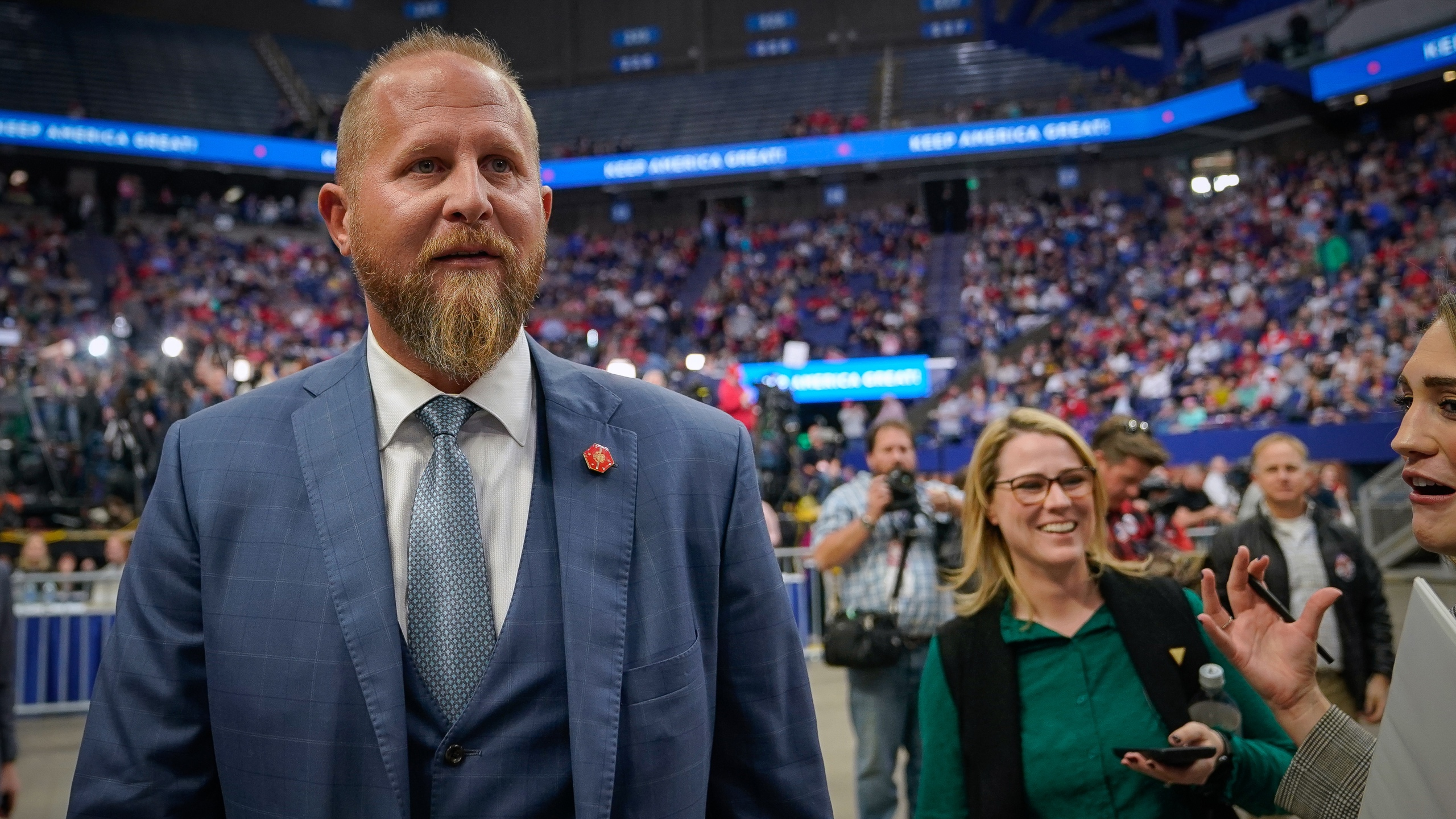 Brad Parscale, campaign manager for U.S. President Donald Trump, arrives at a campaign rally for the President at Rupp Arena on Nov. 4, 2019 in Lexington, Kentucky. The President is visiting Kentucky a day before Election Day to support the reelection efforts of Republican Governor Matt Bevin. (Bryan Woolston/Getty Images)