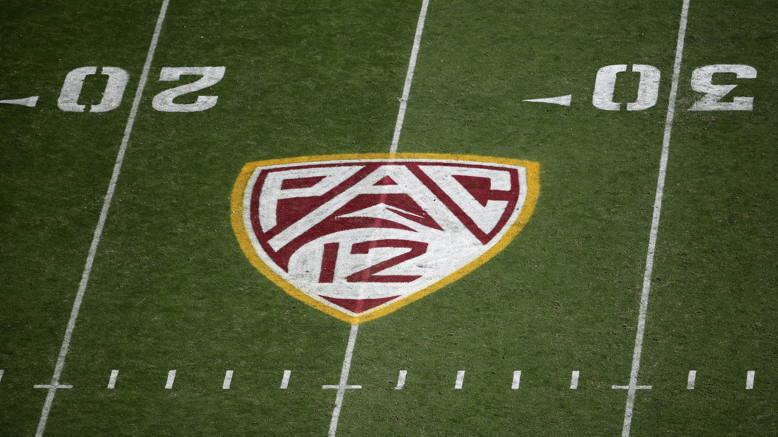 Pac-12 logo on the field during the NCAAF game at Sun Devil Stadium on November 09, 2019 in Tempe, Arizona. (Christian Petersen/Getty Images)