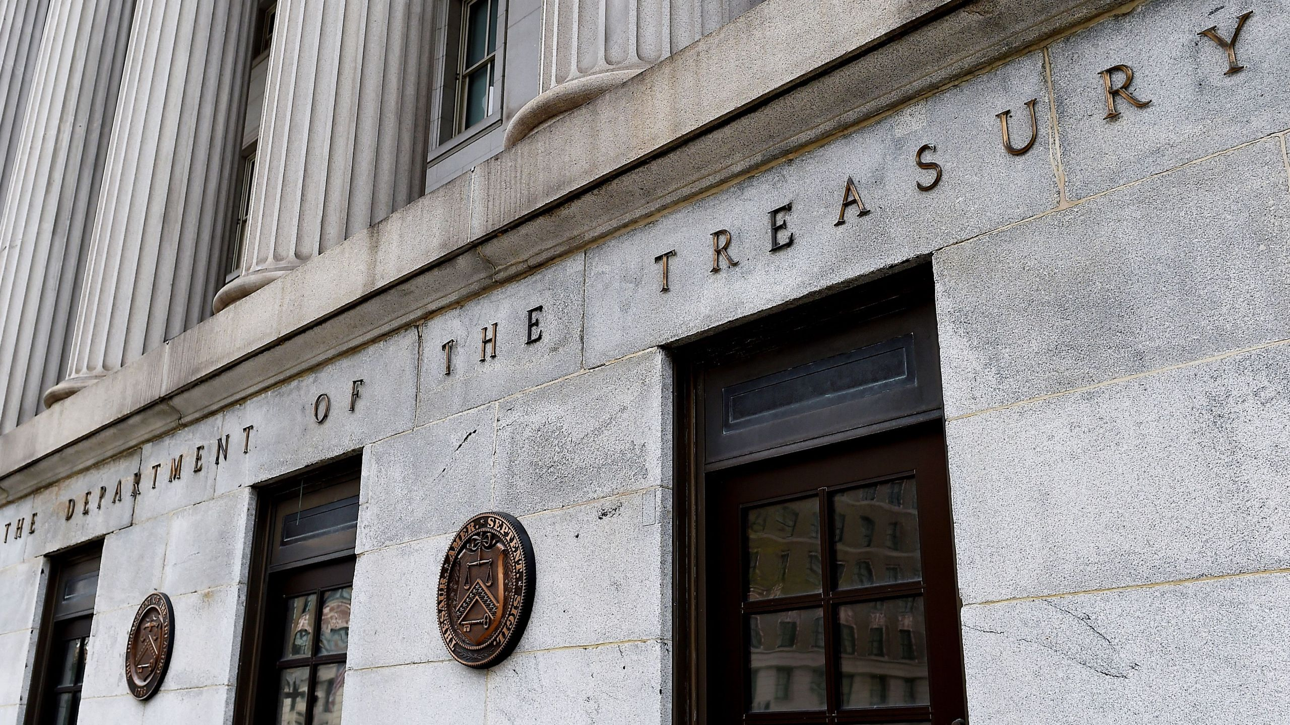 An exterior view of the building of the U.S. Department of the Treasury is seen on March 27, 2020 in Washington, D.C. (OLIVIER DOULIERY/AFP via Getty Images)