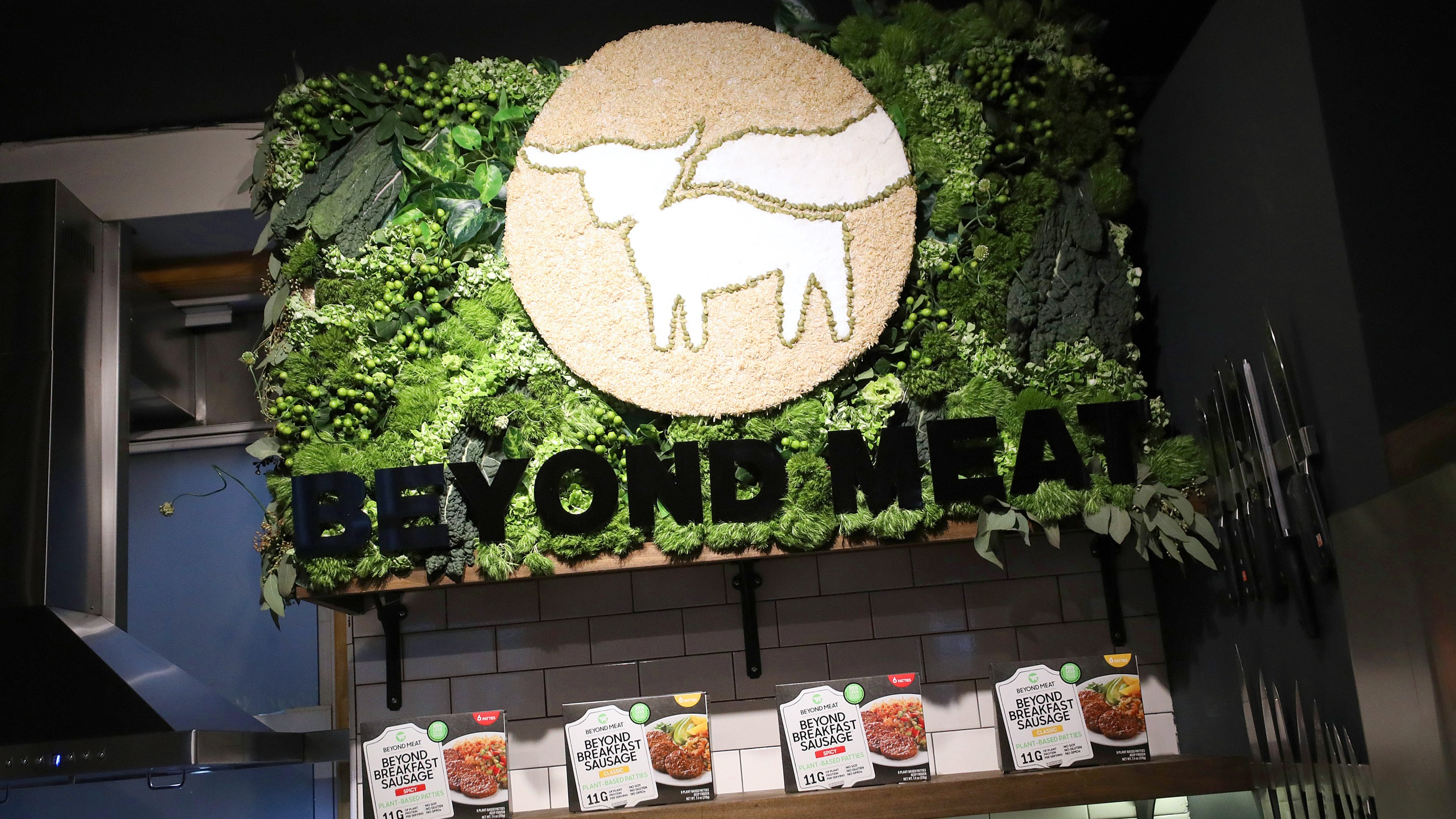 Beyond Meat celebrates the launch of its newest retail product Beyond Breakfast Sausage in New York City on March 10, 2020. (Cindy Ord/Getty Images)