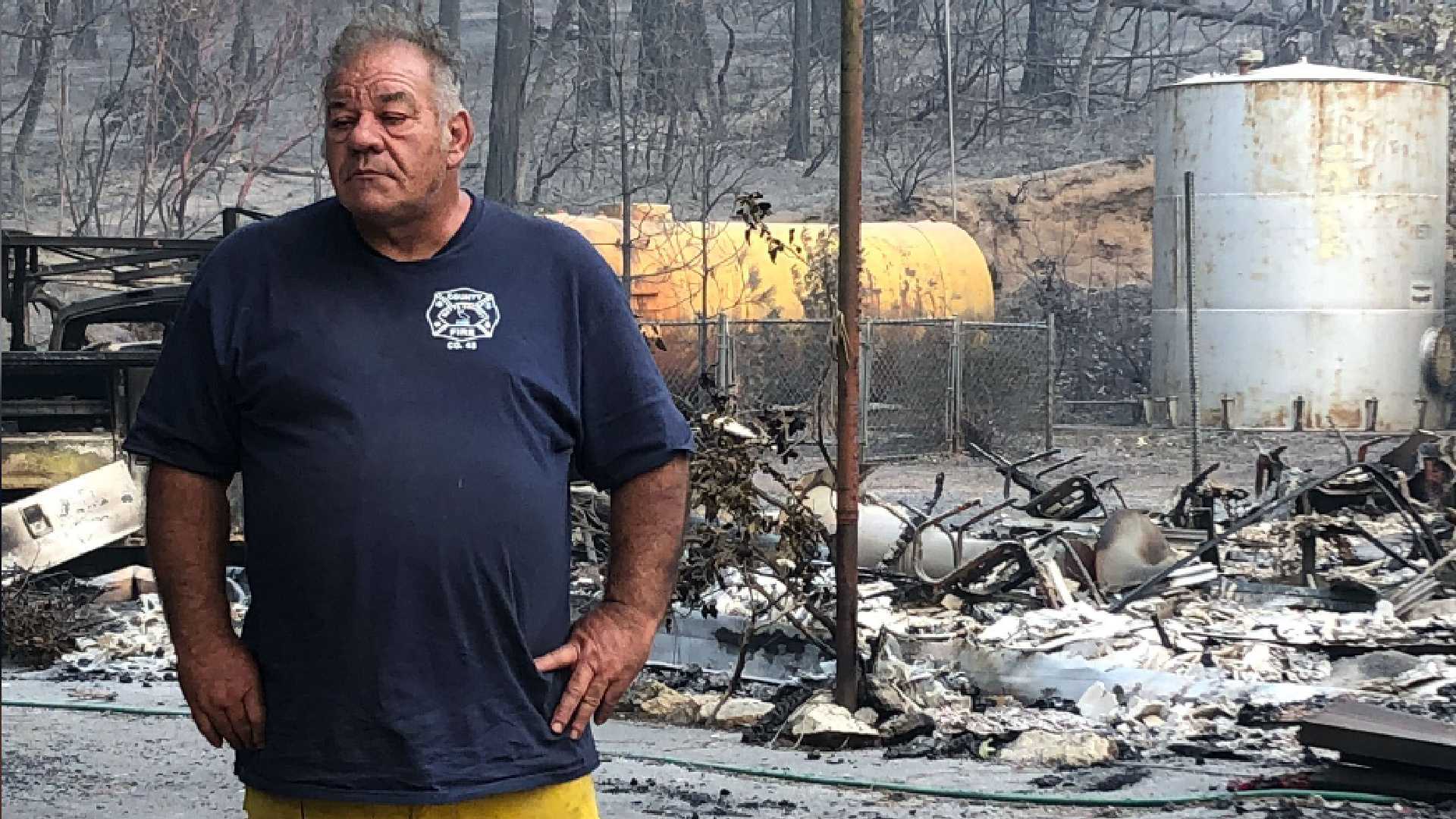 Volunteer fireChief Reed Rankin is seen in an area destroyed by the North Complex fire in Berry Creek. (KTXL)