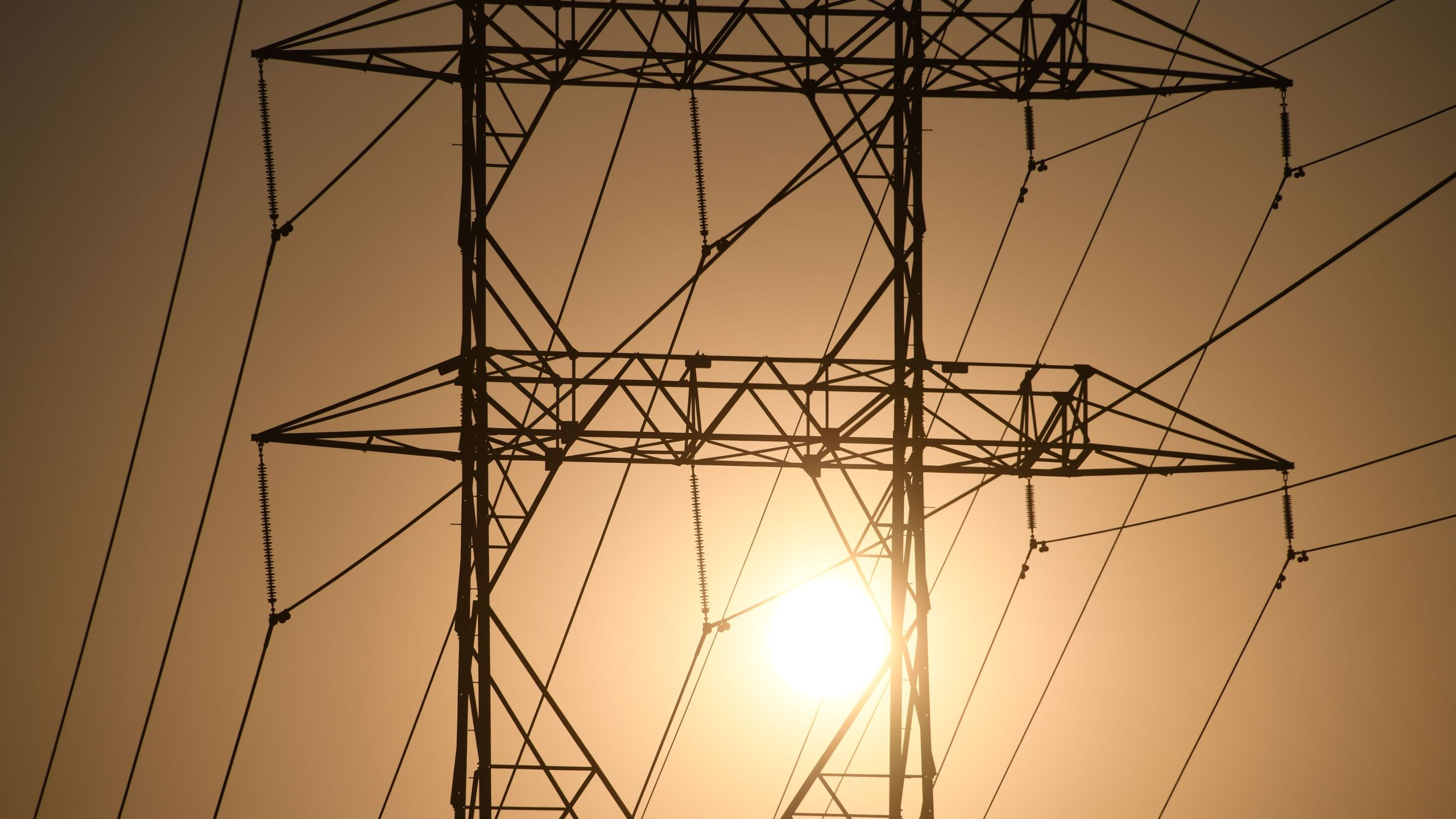 Electrical power line towers are seen in Los Angeles, Aug. 19, 2020, during a triple-digit heatwave gripping the area. (ROBYN BECK/AFP via Getty Images)