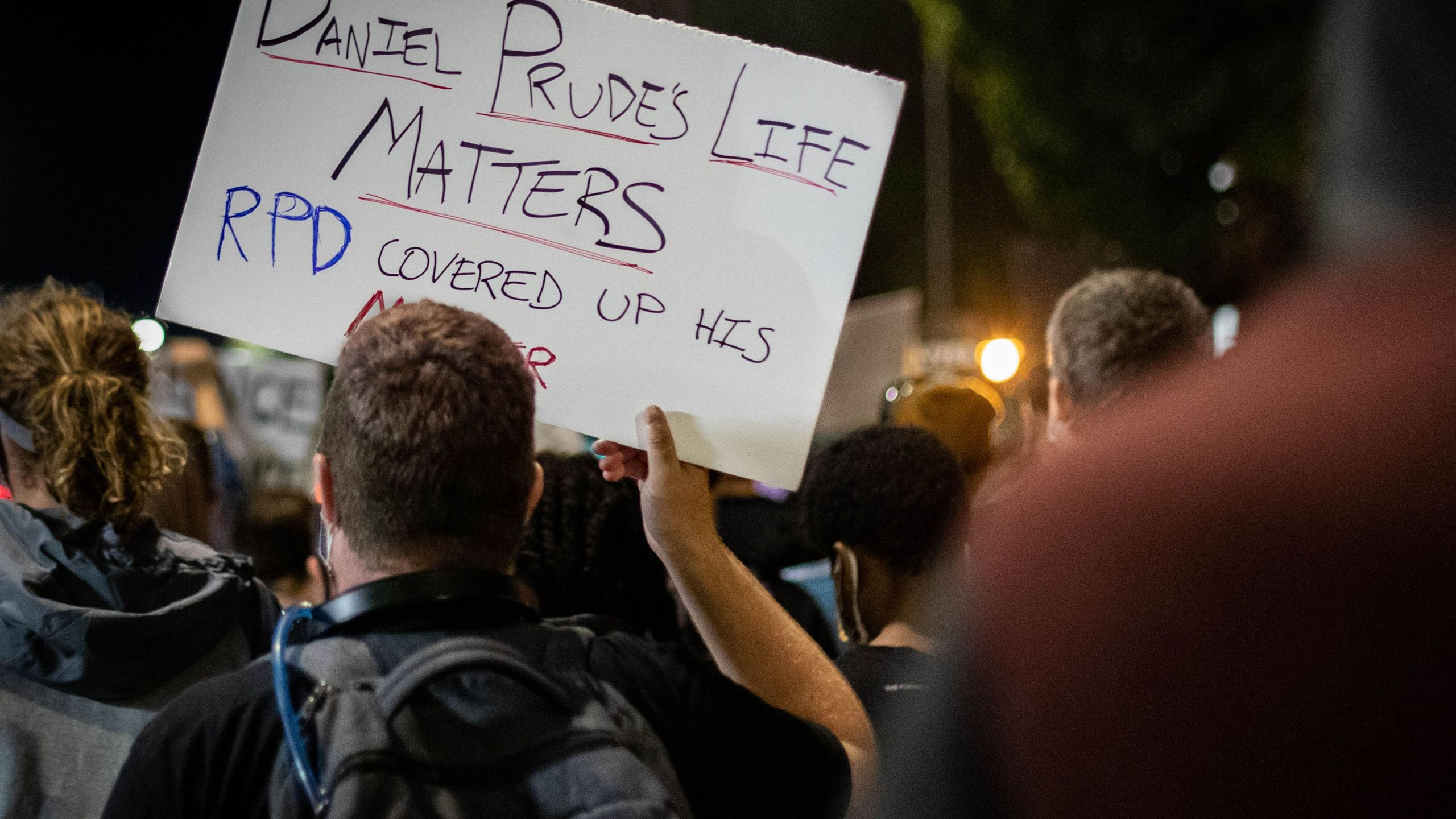 Protesters gather in Rochester, New York, on Sept. 4, 2020, on the third night of protest following the release of video showing the death of Daniel Prude. Prude, a 41-year-old African American who had mental health issues, died of asphyxiation after police arrested him on March 23, 2020, in Rochester. (Maranie R. STAAB / AFP via Getty Images)