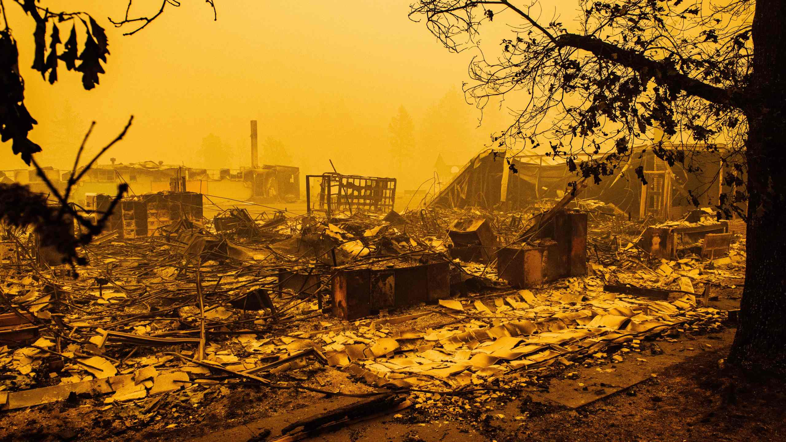 The charred remains of the Gates Elementary School, which was being used as a staging ground by firefighters, are seen after the passage of the Santiam Fire in Gates, Oregon, on Sept. 10, 2020. (Kathryn Elsesser / AFP / Getty Images)