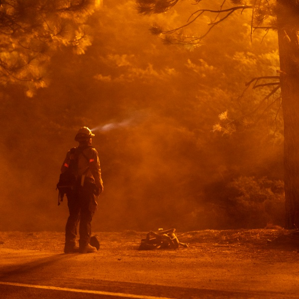 A firefighter keeps watch on flames that could jump the Angeles Crest Highway at the Bobcat Fire in the Angeles National Forest on Sept. 11, 2020 north of Monrovia, Calif. (David McNew/Getty Images)