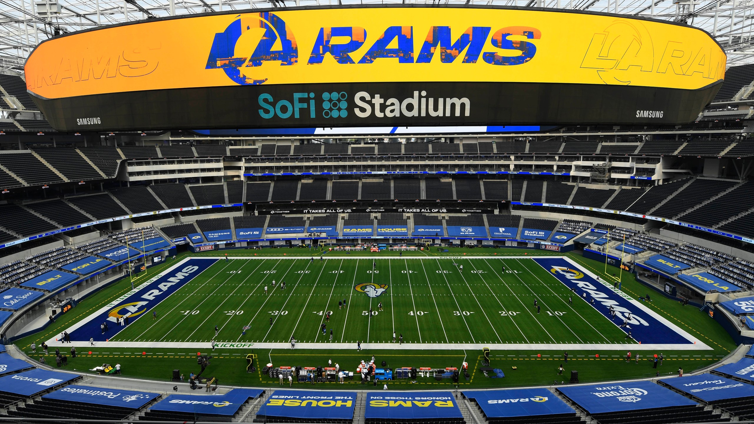 A general view of the new Sofi Stadium before the game between the Los Angeles Rams and the Dallas Cowboys on September 13, 2020 in Inglewood, California. (Kevork Djansezian/Getty Images)