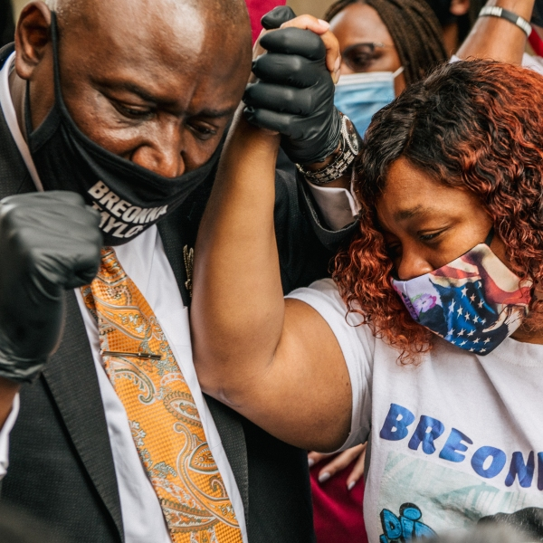 Attorney Ben Crump and Tamika Palmer, mother of Breonna Taylor, appear after a news conference on Sept. 15, 2020 in Louisville, Kentucky. (Brandon Bell/Getty Images)