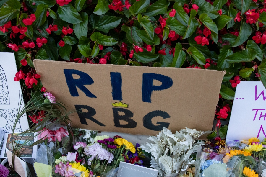 Mourners created a memorial in front of the U.S. Supreme Court in honor of Supreme Court Justice Ruth Bader Ginsburg on Sept. 19, 2020 in Washington, D.C. (Samuel Corum/Getty Images)