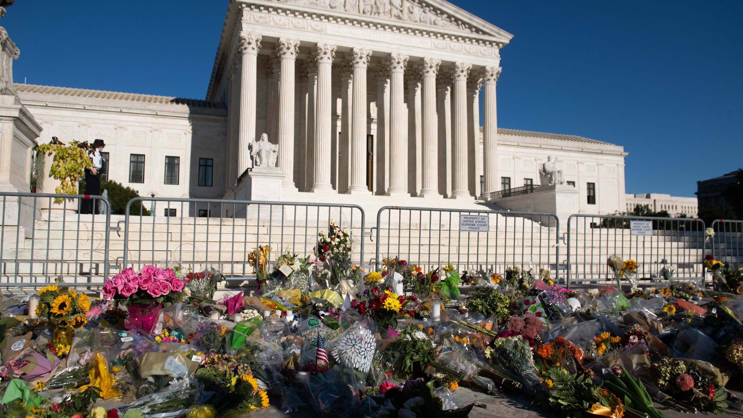 A makeshift memorial for late US Supreme Court Justice Ruth Bader Ginsburg is seen outside the US Supreme Court in Washington, DC, September 21, 2020. (Photo by SAUL LOEB/AFP via Getty Images)