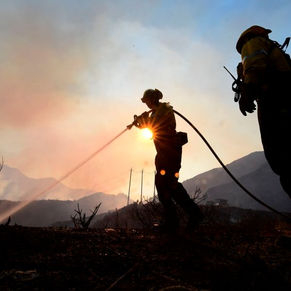Firefighters work the Bobcat Fire in the Angeles National Forest on Sept. 23, 2020, in Los Angeles. (FREDERIC J. BROWN/AFP via Getty Images)