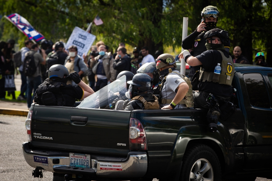 Members of the Proud Boys and other similar groups attend a rally at Delta Park in Portland, Oregon, on Sept. 26, 2020. (MARANIE R. STAAB/AFP via Getty Images)