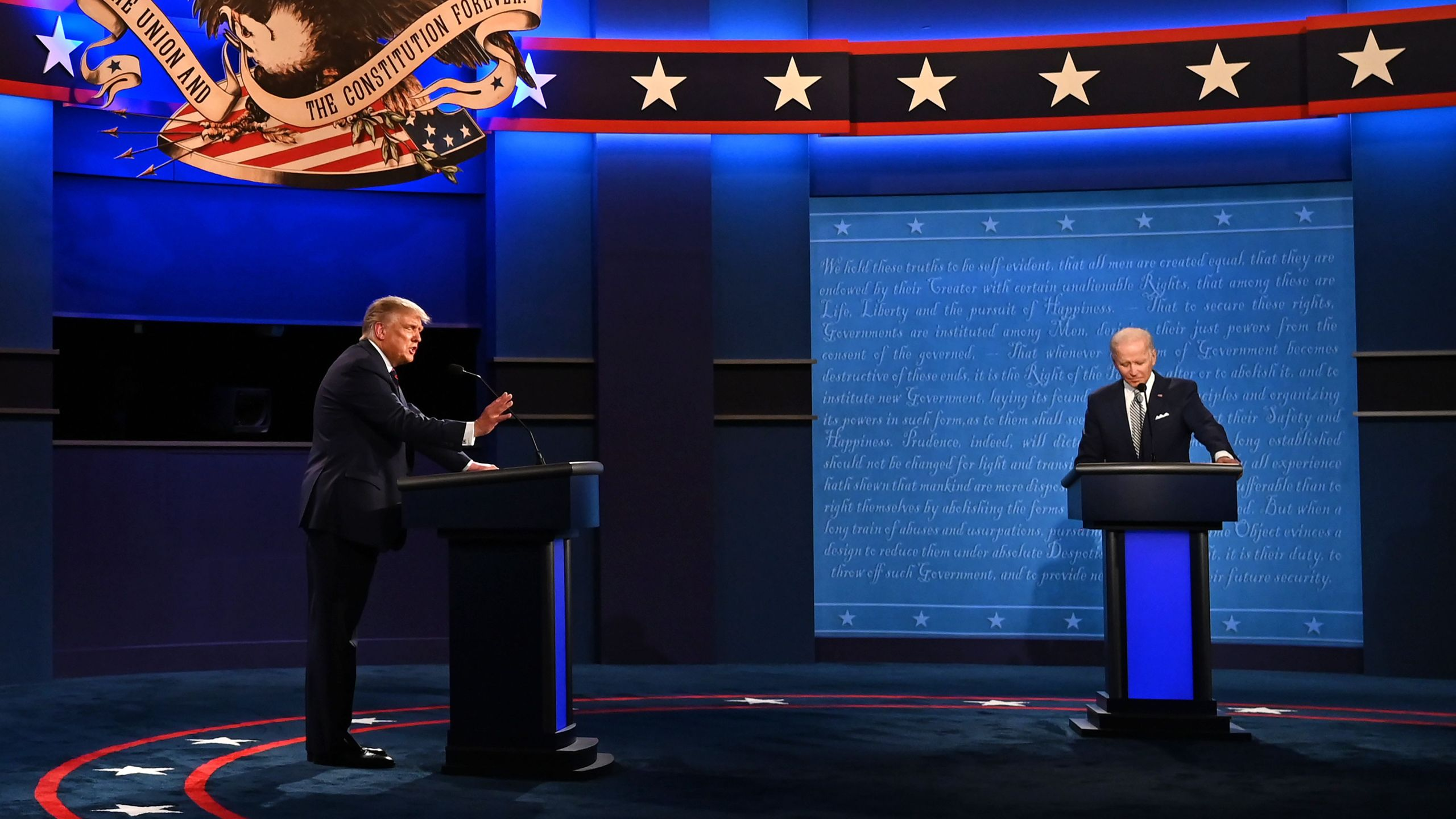 President Donald Trump and former Vice President Joe Biden exchange arguments during the first presidential debate at the Case Western Reserve University and Cleveland Clinic in Cleveland, Ohio on Sept. 29, 2020. (JIM WATSON/AFP via Getty Images)