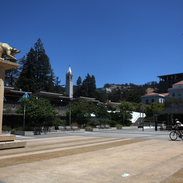 A cyclist rides his bike on the U.C. Berkeley campus on July 22, 2020. (Justin Sullivan/Getty Images)