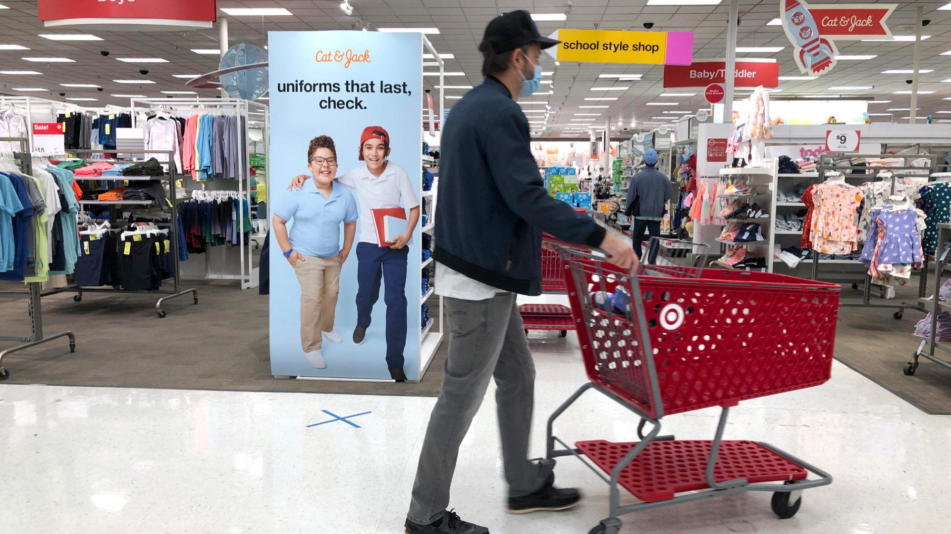 An advertisement for back-to-school uniforms is displayed at a Target store on August 3, 2020, in Colma, California. (Justin Sullivan/Getty Images)