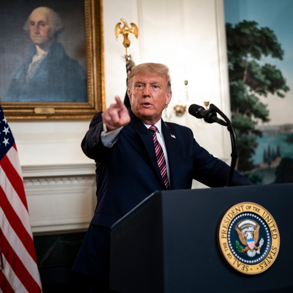 U.S. President Donald Trump announces his list of potential Supreme Court nominees in the Diplomatic Reception Room of the White House on Sept. 9, 2020, in Washington, D.C. (Doug Mills-Pool/Getty Images)