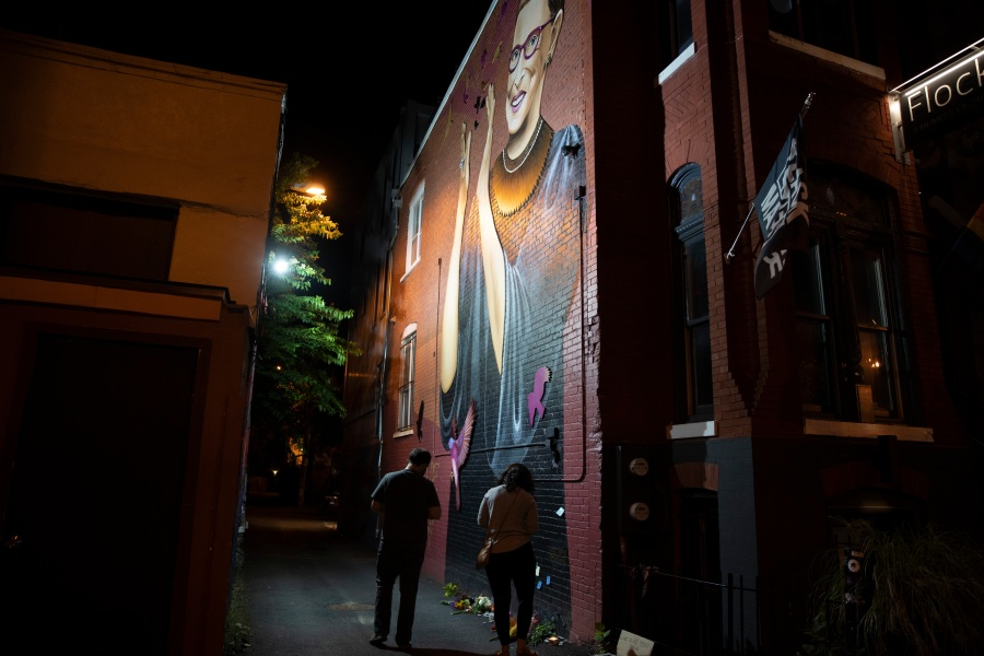 People gather to mourn the passing of Supreme Court Justice Ruth Bader Ginsburg at the U Street mural on Sept. 18, 2020 in Washington, D.C. (Tasos Katopodis/Getty Images)