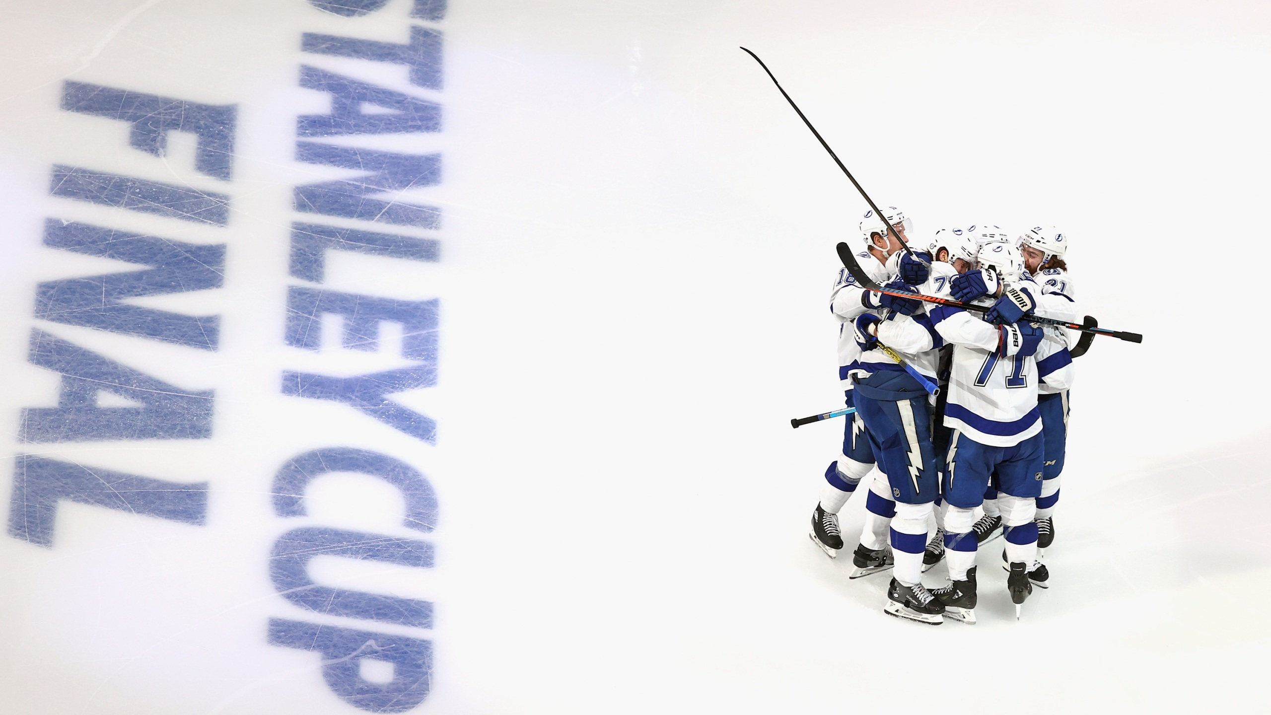 The Tampa Bay Lightning celebrate a goal against the Dallas Stars in Game Three of the 2020 NHL Stanley Cup Final at Rogers Place on September 23, 2020 in Edmonton, Alberta, Canada. (Bruce Bennett/Getty Images)