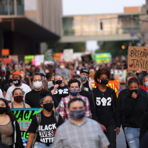 People march for the third day since the release of the grand jury report on the death of Breonna Taylor on Sept. 26, 2020 in Louisville, Kentucky. (Michael M. Santiago/Getty Images)
