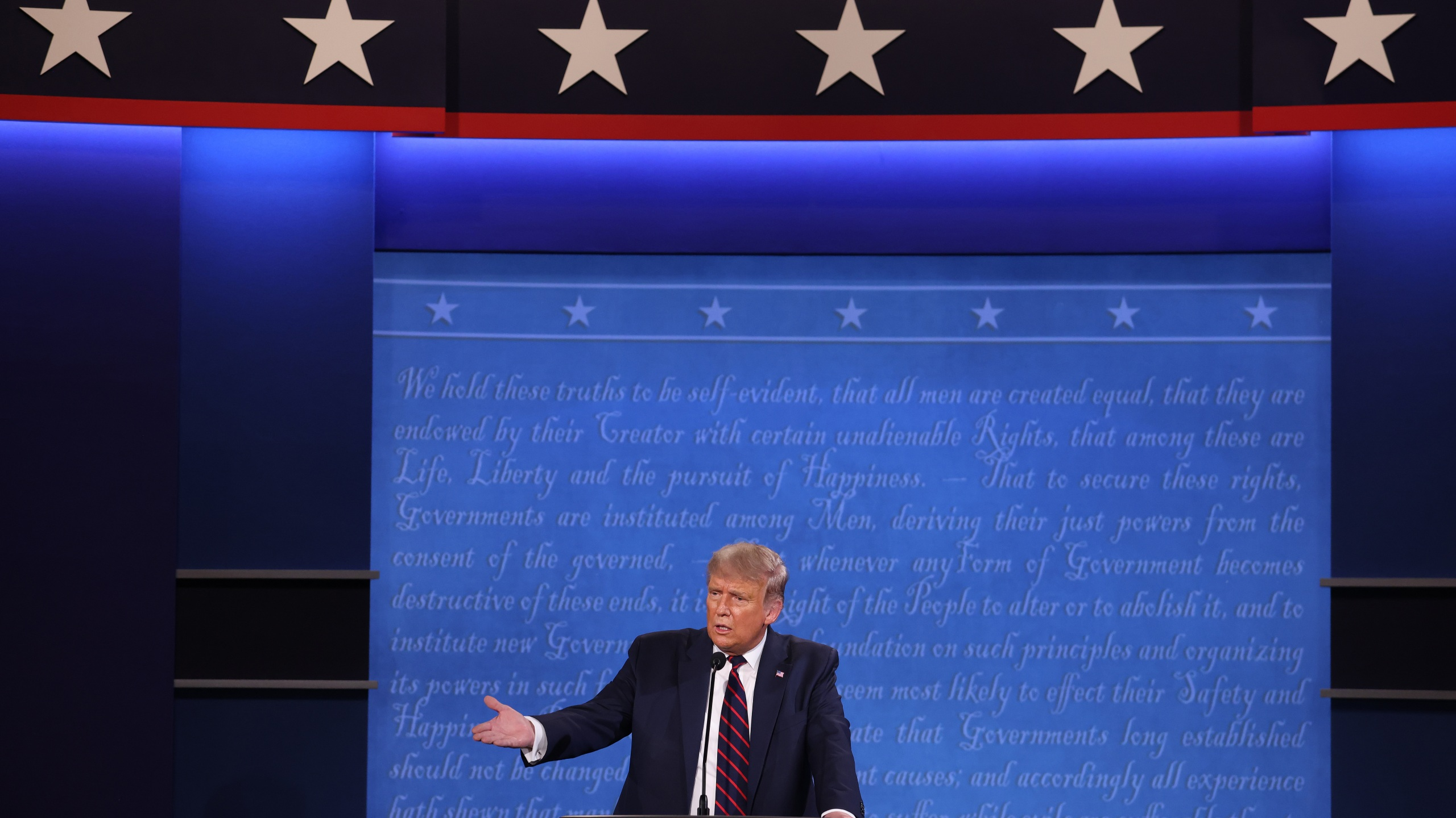 President Donald Trump participates in the first presidential debate against Democratic presidential nominee Joe Biden at the Health Education Campus of Case Western Reserve University on Sept. 29, 2020, in Cleveland, Ohio. (Win McNamee/Getty Images)
